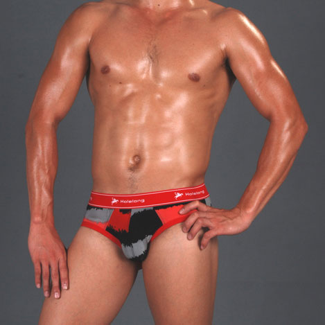 【Holelong】男士三角褲-黑灰紅(條紋)(XL)
