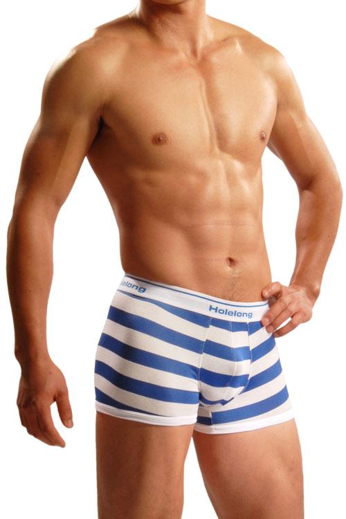 【Holelong】男士平角褲-藍白(L)