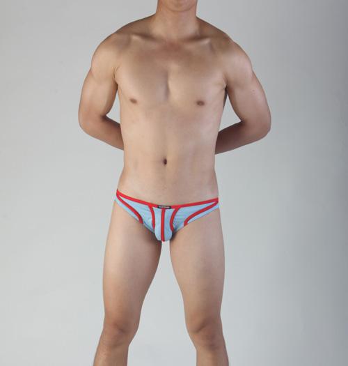 【Vannoor】藍色紅筋棉絲三角褲(XL)