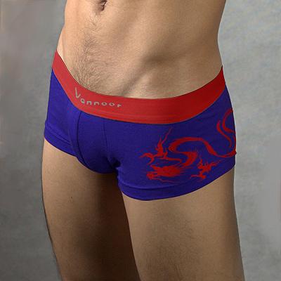 【Vannoor】男士龍之圖騰平角褲(M)-寶藍(紅龍圖案)