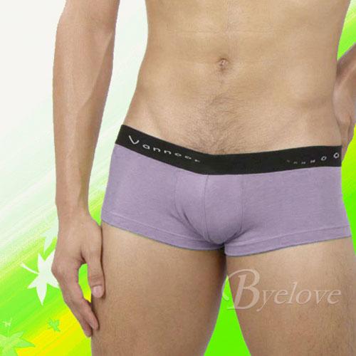 【Vannoor】男士彩筋低腰平角褲-紫色(L)