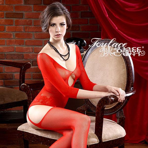 桃色蕾絲ToyLace-一抹嬌羞.仿吊襪連身貓裝性感網衣( 紅)