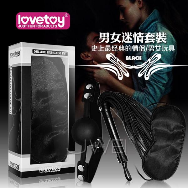 情趣用品-(清倉) Lovetoy.黑色天使套裝1 - SM超值禮盒組(眼罩+口塞+皮鞭)