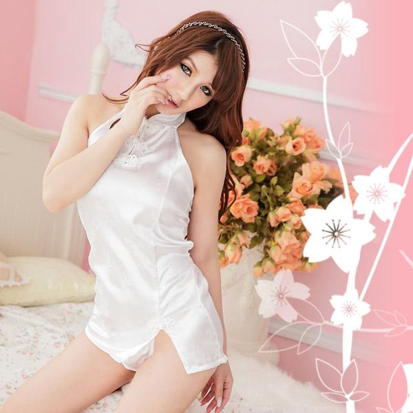 古典印花.美背旗袍(白)