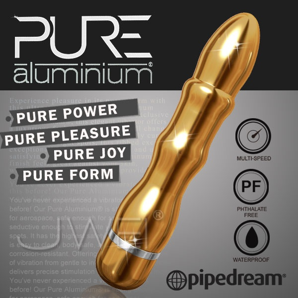 情趣用品-新營阿色-讓金光閃閃的性愛子彈飛-美國進口PIPEDREAM.PURE Aluminium鋁合金材質時尚精品按摩棒-L(金)-內有開箱文
