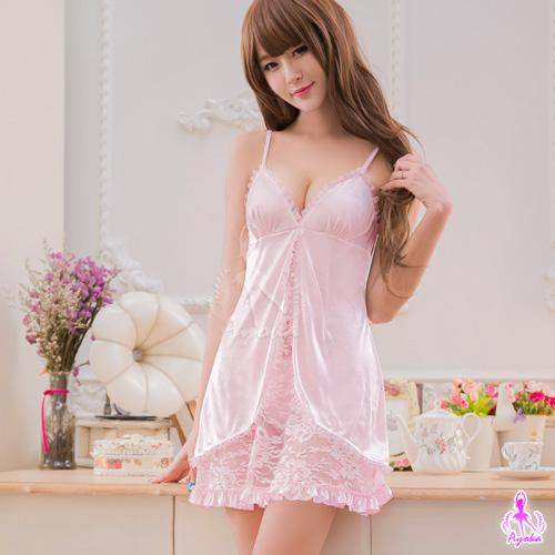 情趣用品-甜心粉紅蕾絲柔緞二件式睡衣