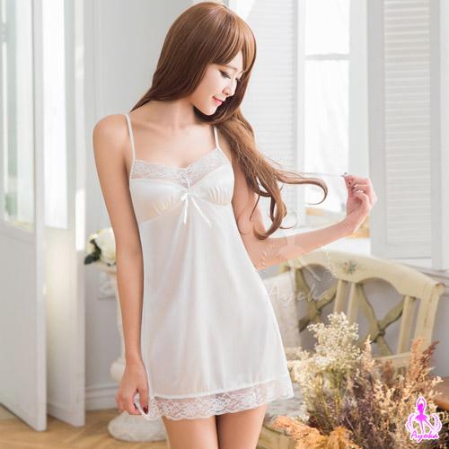 性感睡衣 典雅白色蕾絲柔緞睡衣