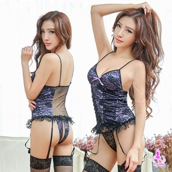 吊襪帶 浪漫紫蕾絲馬甲四件組