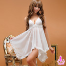 【Ayoka】愛的迷惑!透視二件式睡襯衣#白