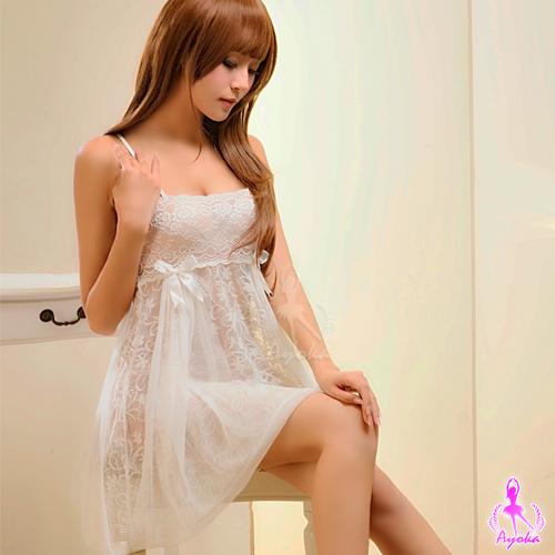 (送性感配件)甜美雅致!白色蕾絲二件式性感睡衣