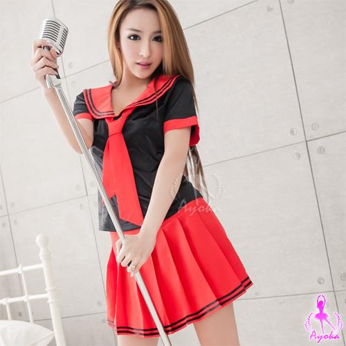 黑衫紅裙三件式學生角色扮演服