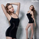 (塑身衣買1送1)【Naya Nina】雙弧推塑˙加強纖腰長版細肩塑身衣(L)#銀河黑