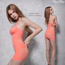 (塑身衣買1送1)【Naya Nina】雙弧推塑˙加強纖腰長版細肩塑身衣(XXL)#蜜桃粉