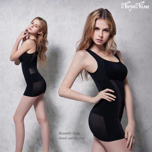 (塑身衣買1送1)【Naya Nina】雙弧推塑˙加強纖腰長版寬肩塑身衣(XXL)#銀河黑