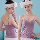 (免運商品)Bra Top蕾絲深V無鋼圈罩杯內搭背心(M)#紫藕