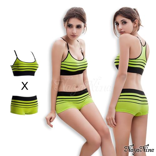 旋律!無縫工字背無鋼圈內衣平口褲組S-XL(黃綠)