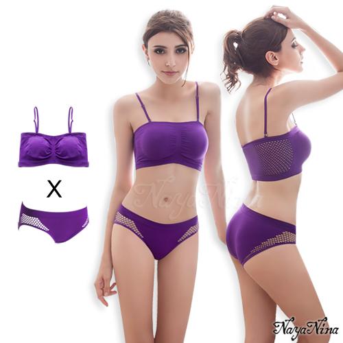 感動!無縫透氣無鋼圈內衣內褲組S-XL(紫)