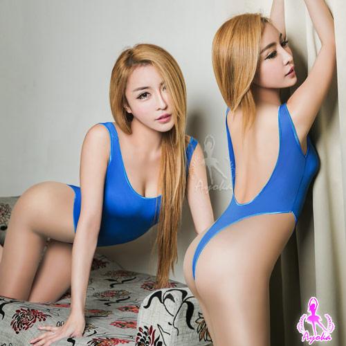 藍色高衩死庫水露背連身衣