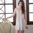 大尺碼Annabery純白透視雙層蕾絲二件式性感睡衣