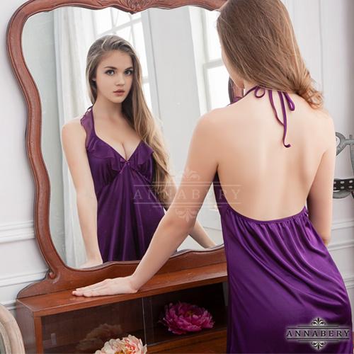 大尺碼Annabery深V荷葉領深紫柔緞睡衣