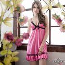 大尺碼Annabery亮麗粉紅動人柔緞睡衣
