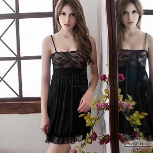 大尺碼Annabery性感黑浪漫百褶柔緞睡衣