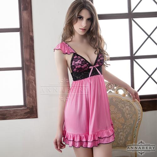 大尺碼Annabery粉莓紅黑蕾絲甜美柔緞睡衣