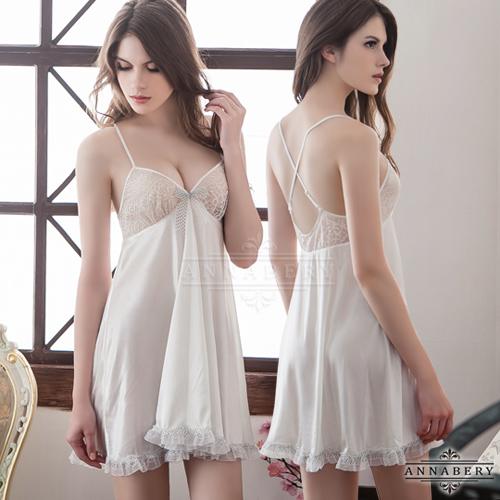 大尺碼Annabery大圓裙交叉美背柔緞睡衣