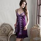 大尺碼Annabery假兩件刺繡紫色典雅睡衣