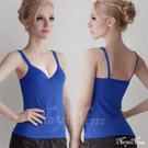 (免運商品)Bra Top寬肩帶無鋼圈罩杯內搭背心(L)#藏藍