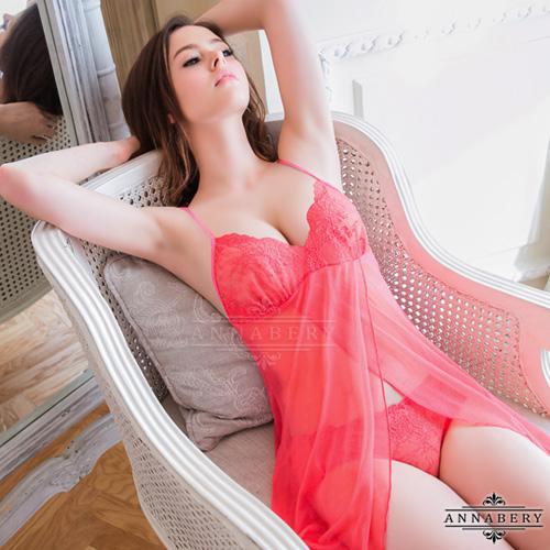 大尺碼Annabery桃紅佳人柔紗開襟二件式睡衣