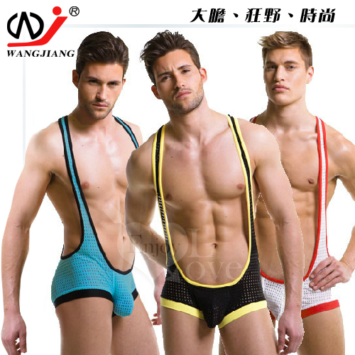 【WJiang】男士性感網眼透氣背心平角連體衣﹝湖藍 M﹞