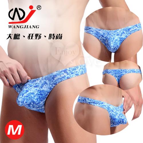 【WJiang】時尚印花低腰U凸T字褲﹝藍紋 M﹞