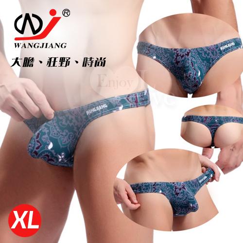 【WJiang】時尚印花低腰U凸T字褲﹝墨綠 XL﹞