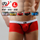 【WJiang】條紋網紗半透明性感平口褲﹝紅 L﹞