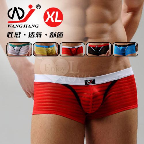 【WJiang】條紋網紗半透明性感平口褲﹝紅 XL﹞