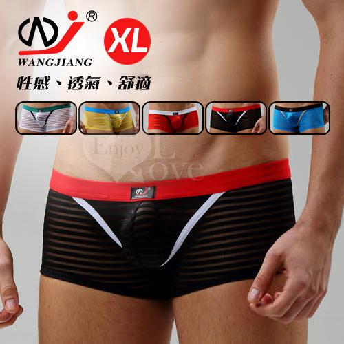 【WJiang】條紋網紗半透明性感平口褲﹝黑 XL﹞