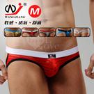 【WJiang】條紋網紗半透明性感露臀造型褲﹝紅 M﹞