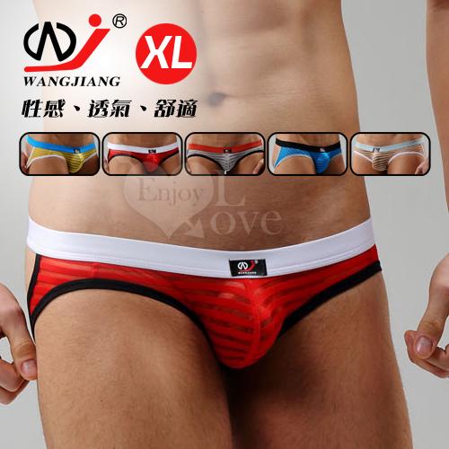 【WJiang】條紋網紗半透明性感露臀造型褲﹝紅 XL﹞