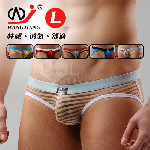 【WJiang】條紋網紗半透明性感露臀造型褲﹝米 L﹞