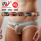 【WJiang】條紋網紗半透明性感露臀造型褲﹝米 XL﹞