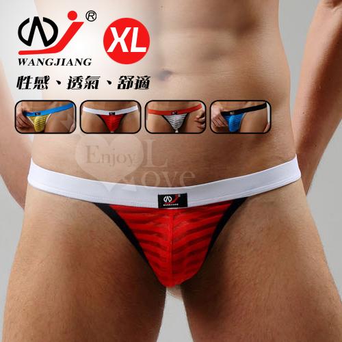 【WJiang】條紋網紗半透明性感丁字褲﹝紅 XL﹞
