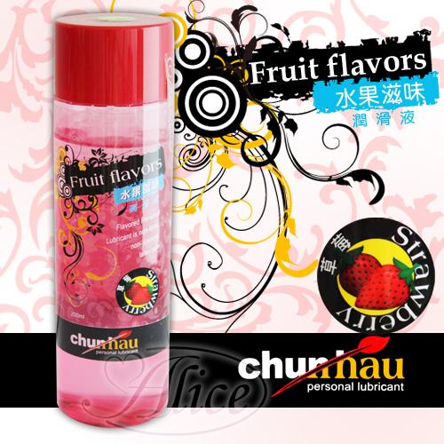 情趣用品-台灣 Chunhao Fruit flavors 水果滋味潤滑液 - 草莓(200ml) +贈送新體驗構造自慰套