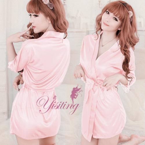 《Yisiting》經典浪漫!柔緞和服睡袍﹝粉紅﹞