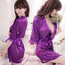 《Yisiting》經典浪漫!柔緞和服睡袍﹝紫﹞