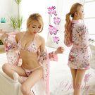 《Yisiting》花誘甜心!愛戀飛舞和服式浴袍三件組