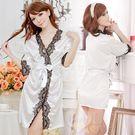 《Yisiting》愛在今宵!長袖透明蕾絲和服式睡衣﹝白﹞