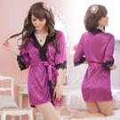 《Enjoy Love》愛在今宵!大碼長袖透明蕾絲和服式睡衣﹝紫﹞