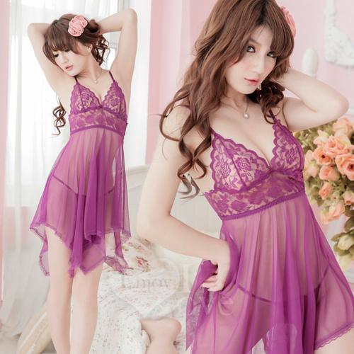 魅惑挑逗!蕾絲柔紗二件式性感睡衣(紫)