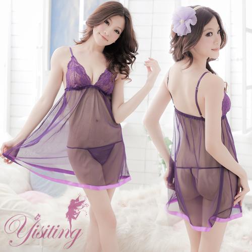 紫花情迷!性感蕾絲薄紗透視睡衣